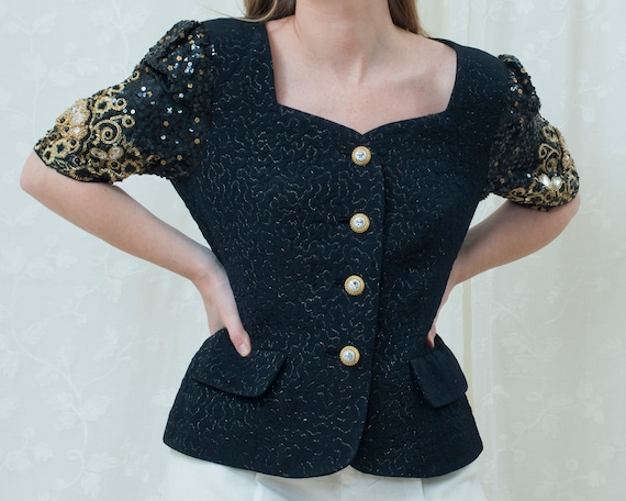 80s black embroidered evening blazer large | gold