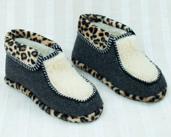 80s leopard wool bootie slippers 8 | animal print