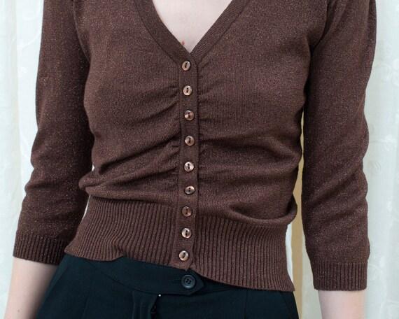 90s brown metallic cardigan xs | bronze sparkle b… - image 2