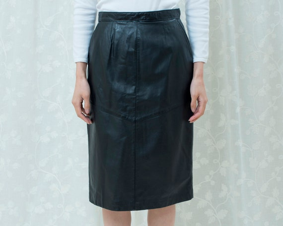 size Small 26 waist High Waist Wiggle Skirt Vintage 80s Gray Pencil Skirt Classic Wool Midi Skirt with Pockets