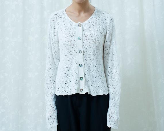 80s white crochet cardigan sweater large | minimal