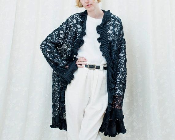 80s black sheer lace ruffle cardigan xl | ruffle c