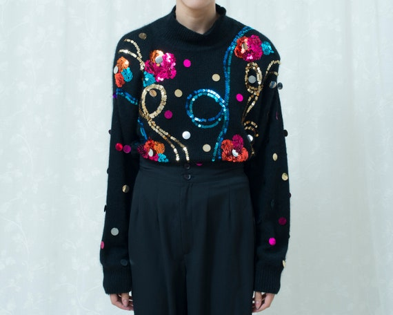 80/'s Soft Black Sweater with Geometrical Sequins and Beads \u2014One Size Fits Most