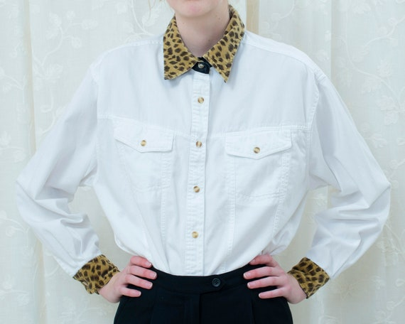 80s bill blass white blouse large   leopard trim b