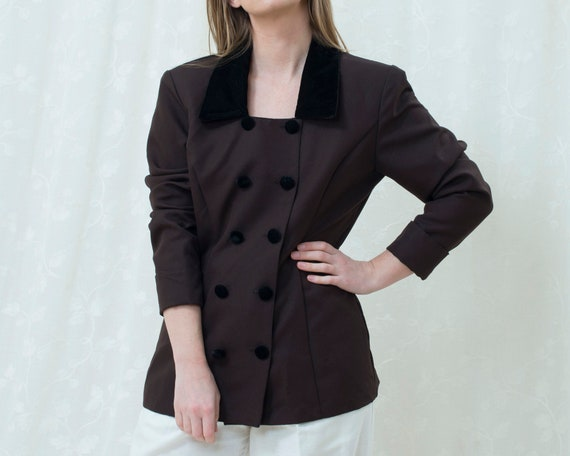 80s brown blazer large | velvet collar double brea