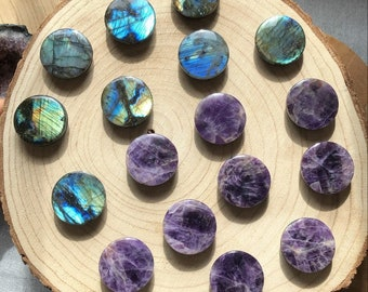 Gemstone Cell Phone Button Labradorite Amethyst