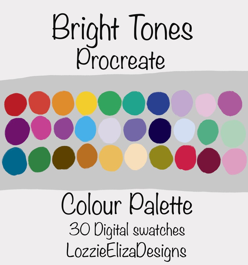 Bright Tones  Procreate Digital Colour Palette  30 Swatches image 0