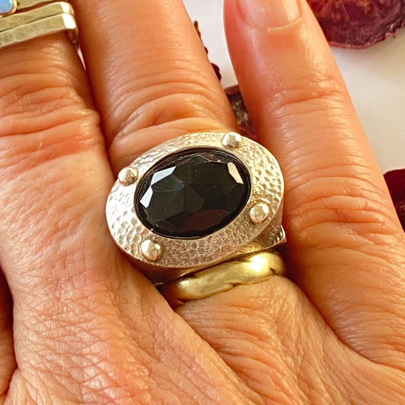Wide Sterling Silver and Onyx Statement Ring Unisex Ring Fleur de lis ring Oval onyx Ring for Men and Women