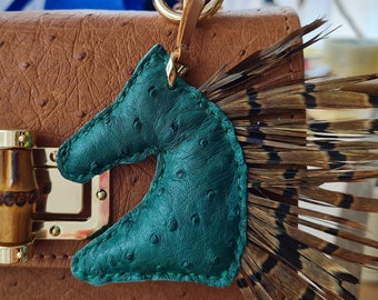 Horse bag charm, authentic ostrich leather bag charm, handmade bag charm, handmade purse  charm, exotic leather bag charm