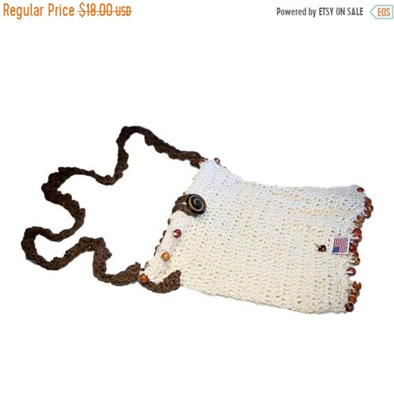 ON SALE Creme /& Brown Purse with beads and inner lining Fashion