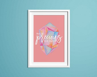 """PRINTABLE """"PRECIOUS - Pink"""" Mixed Media Print  
