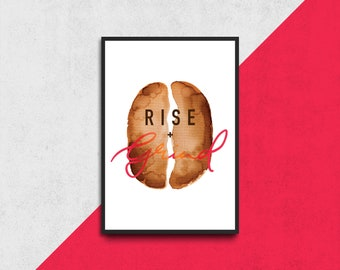 """PRINTABLE """"RISE + GRIND - Neon Pink"""" Watercolour Print  
