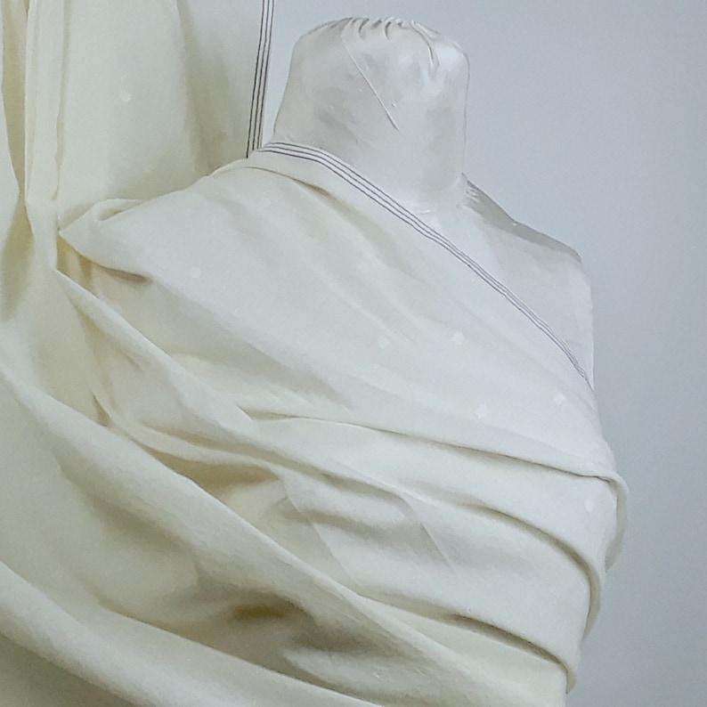 Ivory Dotted Borders Handwoven Cotton Jamdani Fabric by the Half Yard