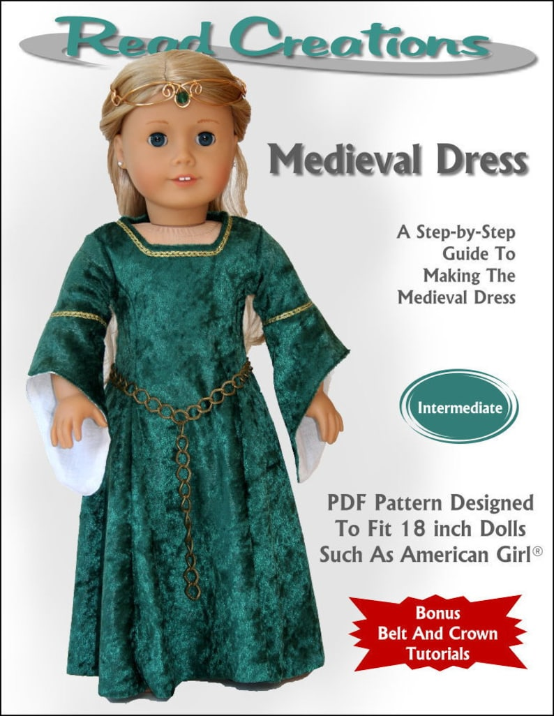 Medieval Dress PDF Sewing Pattern for 18