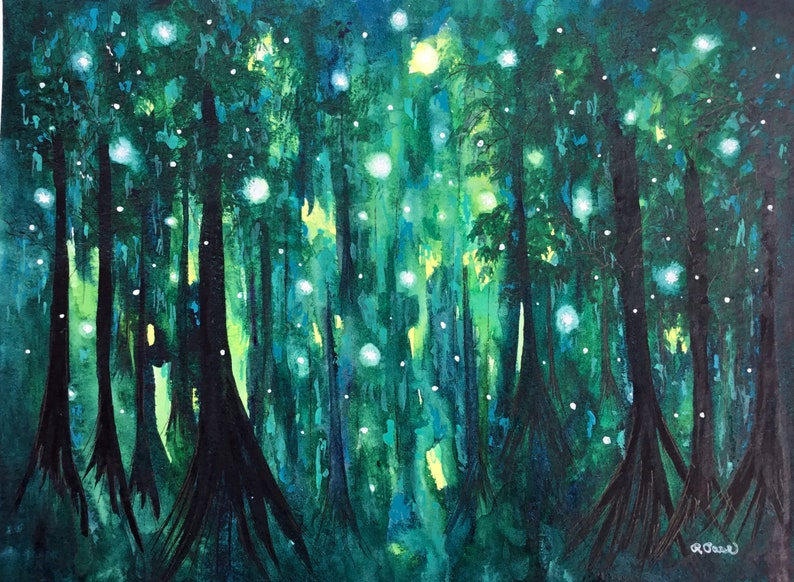 Giclee Fine Art Print Fireflies in the Forest Moon Love Art image 0