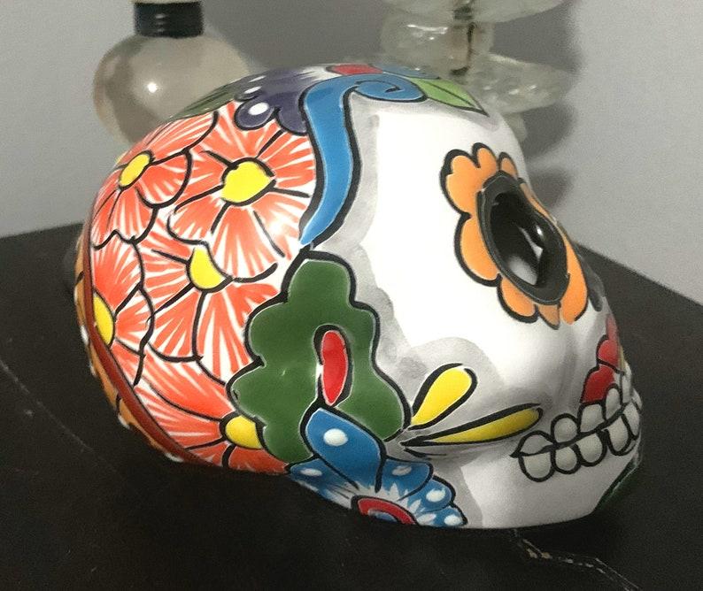 Mexican Sugar Skull Ceramic Sugar Skull Halloween Decoration Halloween Candle Luminary Skull Talavera Pottery Mexican Decor Mexican Pottery