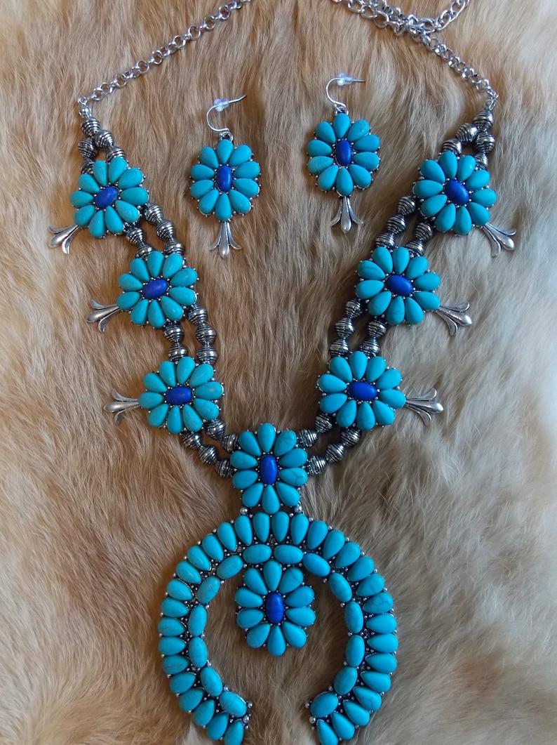 Turquoise and blue squash blossom set Squash necklace Turquoise squash blossom necklace Western jewelry