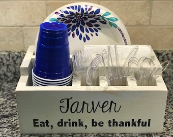 Personalized Party Utensil Caddy | Picnic Plate, Cup and Utensil Caddy | Tailgaiting Utensil Caddy