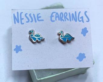 Nessie Stainless Steel Enamel Stud Earrings