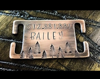 Tree Dog Tag | Quiet Harness Slide | Personalized | Rustic | Hiking | Custom Dog Tag | Silent Tag | Slide on Collar Tag | Hand Stamped