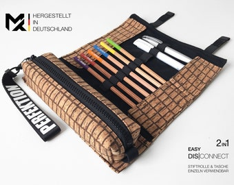 f4501fcb54 MAY-TIE Stiftetui | 2in1 set of pen wool and pen bag | Pencil Case | 100%  Cork | Style: Bricks | Made in Germany