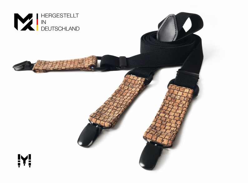 marriage men party Y-Shape birthday 100/% cork Made in Germany groom Gift for him MAY-TIE Suspenders Style: Wood Brown