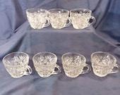 Vintage Punch Cups Set of 7 Anchor Hocking Glass Arlington pattern