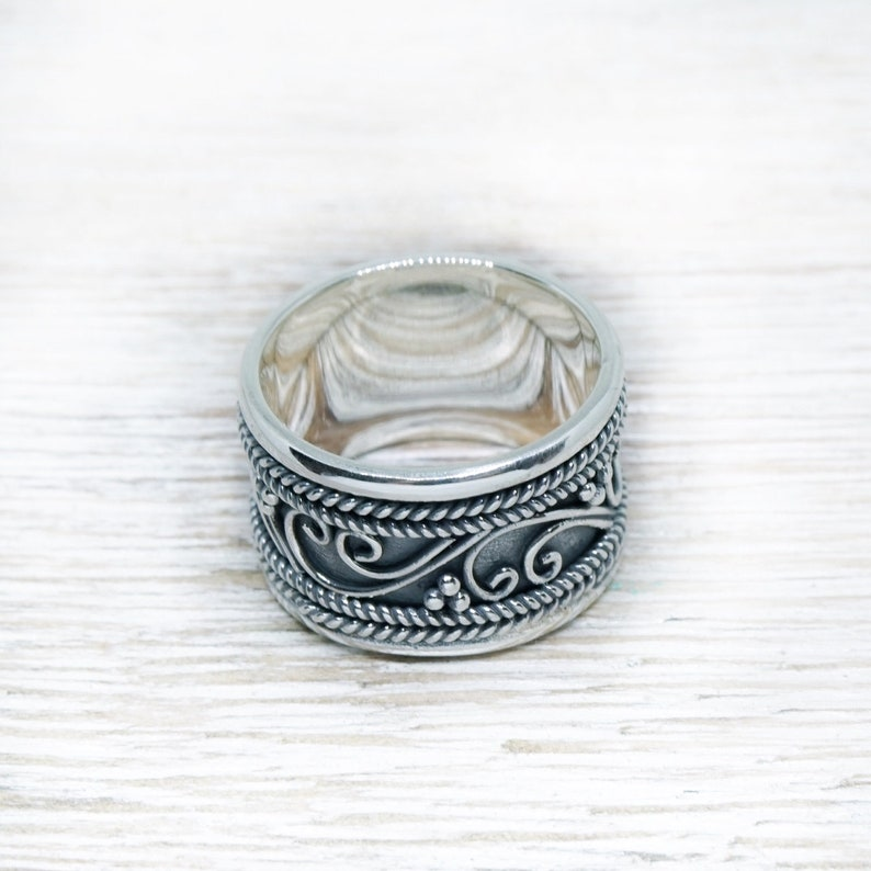 Large Silver Ring ~ Wide Band ~ Bali Style ~ Handmade ~ Oxidized ~ 925 Sterling Silver ~ Ornaments ~ Dots ~ Chunky Ring ~ Gypsy ~ Bohemian