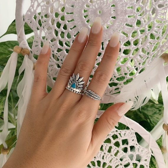 Turquoise Spoon ring Indian ring Native America Indian Jewelry Feather ring Sterling Silver Turquoise Ring Wrap Ring Boho ring Women Jewelry