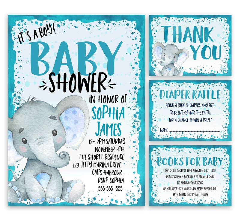 DIY Printable Invitation Set Elephant Baby Shower Invitation Pack A105 Digital Party Blue Invite Diaper Raffle Card Books for Baby Card