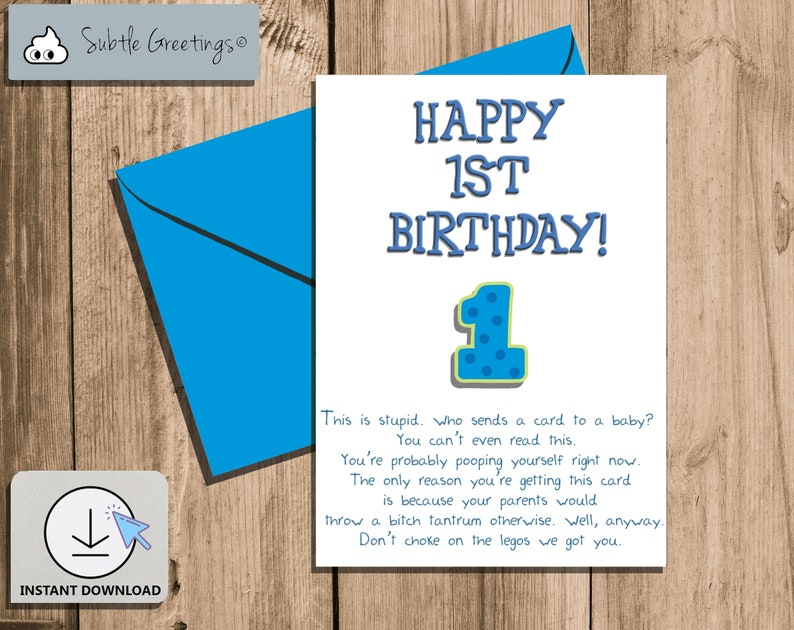 Happy Birthday Card 1st Printable Funny