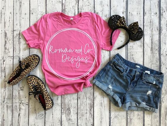 Bella Canvas 3001 Mockup 3001 Pink Mockup Hanging Mockup 3001 T Shirt Mockup Charity Pink T Shirt Mockup 3001 Charity Pink