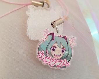 457e2a582cccf Hologram Hatsune Miku Holographic Glitter Acrylic Phone Charm 1