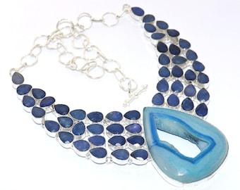 Natural K-2 Blue Jasper Blue Topaz Quartz   Handmade /& 925 Silver Plated CLUSTER Necklace Jewelry  AS 15067