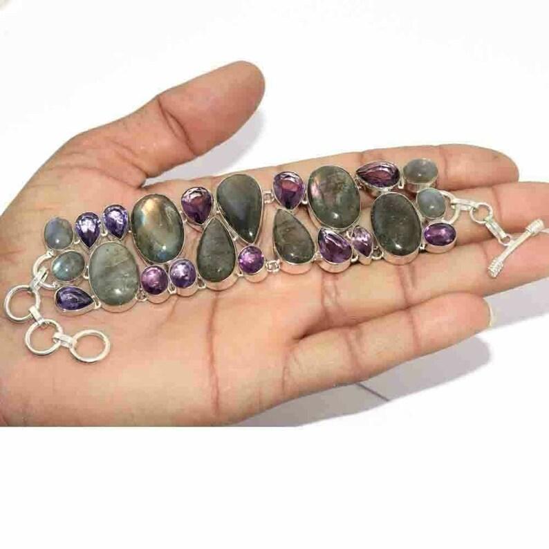Natural Fiery Labradorite Amethyst handmade 925 Silver plated gemstone Cluster bracelet Y0126
