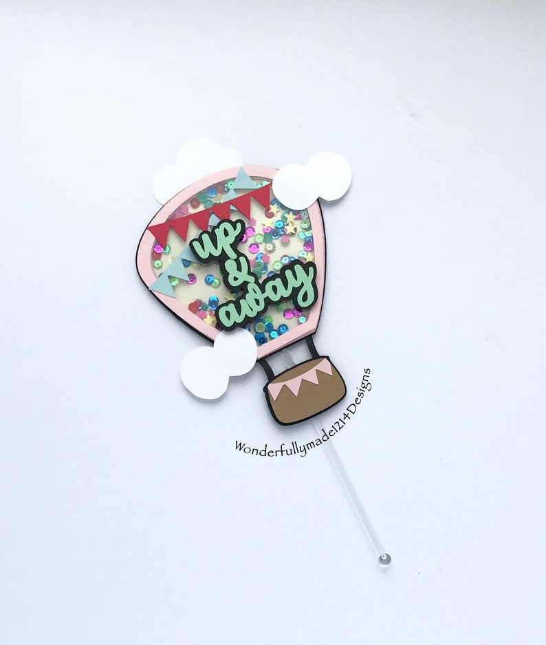 Hot air balloon shaker topper up and away shaker cake topper Up baby shower topper shaker.