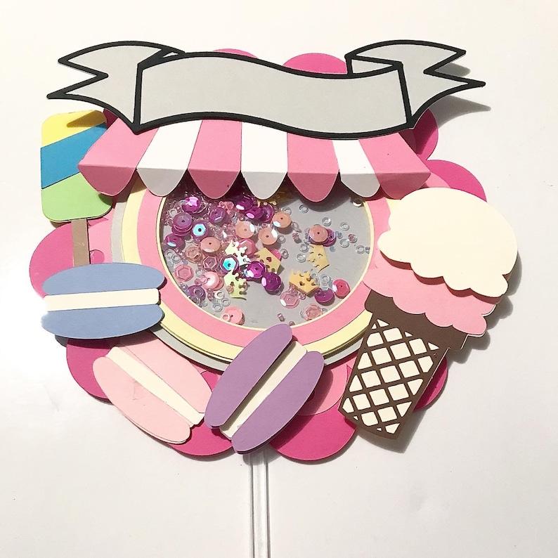 Ice cream theme shaker topper sweet theme shaker cake topper cake topper party cake topper