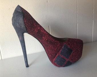 dafcd95473fb Harley Quinn Custom Glitter Heels
