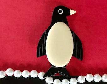 Bunny brooch raven black plastic by Marion Godart