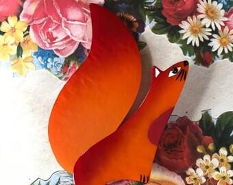 Marie-Christine PAVONE Broche Écureuil Cassegrain Orange Handmade Warm Orange Galalith Squirrel Brooch French Designer Jewelry