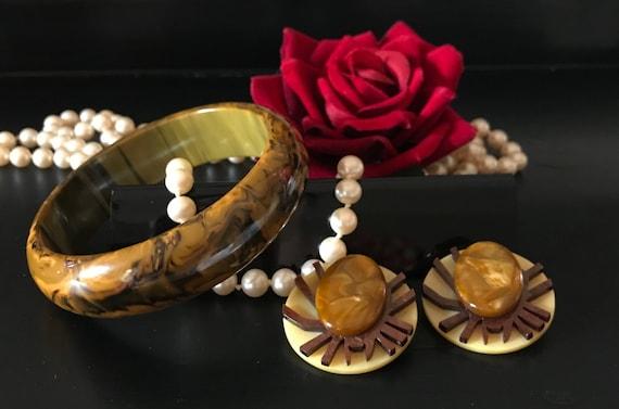 Marbled BAKELITE Bangle and Artisan French GALALIT