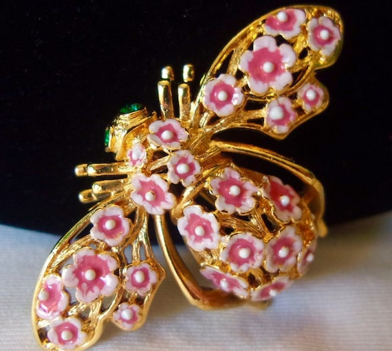 JOAN RIVERS Cherry Blossom Queen Bee Signed Brooch