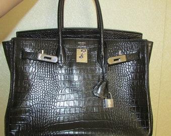 221268e38a2 HERMES Birkin 35 Black Crocodile Palladium Hardware Vintage France