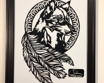 laser cut from mylar Tribal wolf and moon stencil