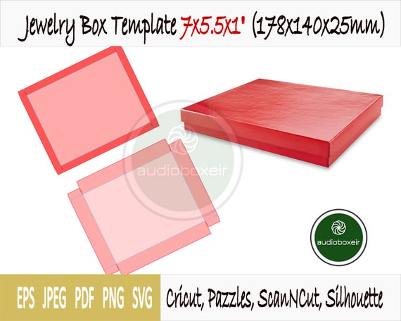 178x140x25mm PDF file to print SVG ready to cuttig machine Cricut Silhouette Scan N Cut Word instructions Jewelry box template 7x5.5x1inch