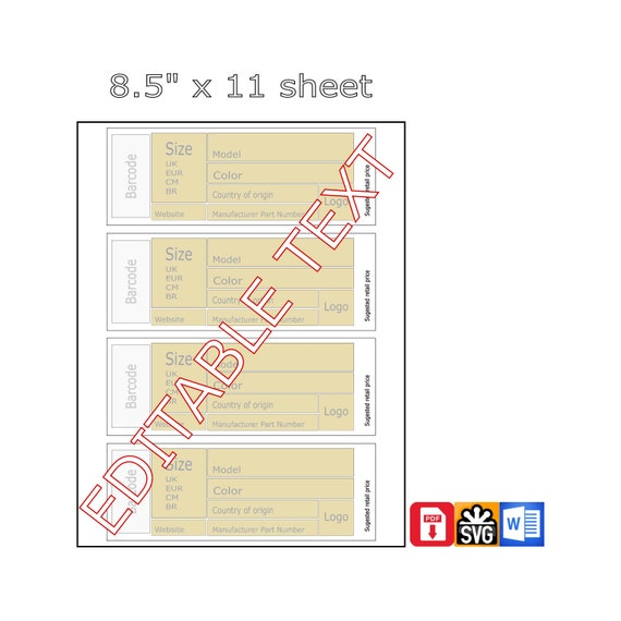 Shoe Box Label Template 7x2 5inch 176x64mm Pdf File To Print Word Instructions Instant Digital Download Template Shoe Box Label Printable