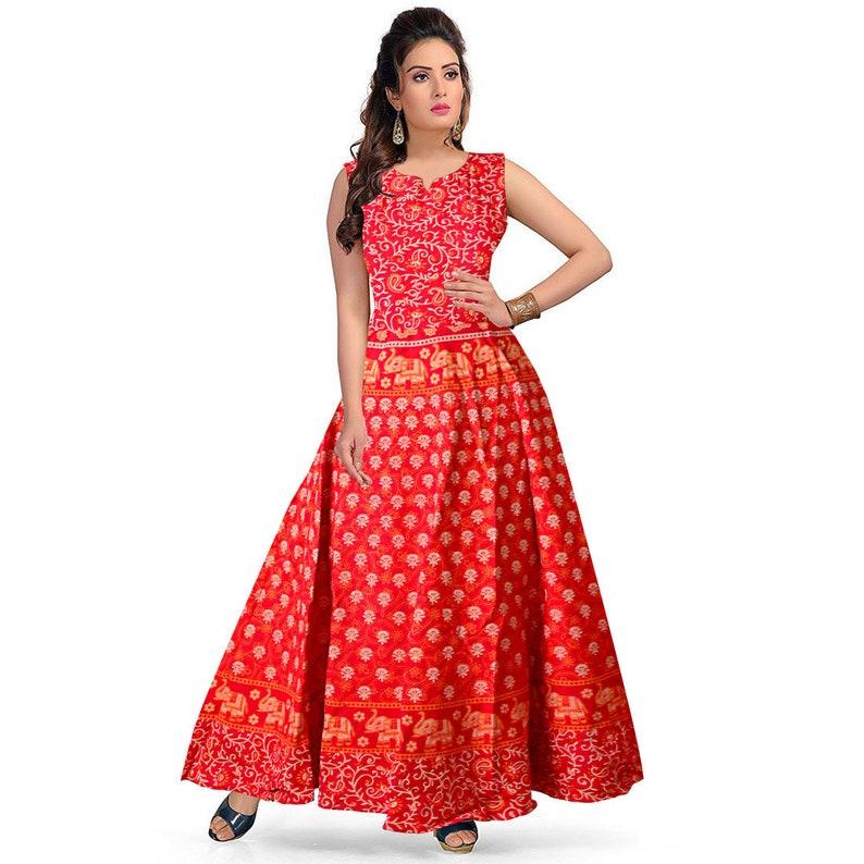 d51a0eb08dc1 Indian Fusion Sommer Mode Baumwollkleid lange Maxi-Kleid Elefant Boho  Maxikleid indischen Kleid Block Druck Maxi-Kleid langes Kleid
