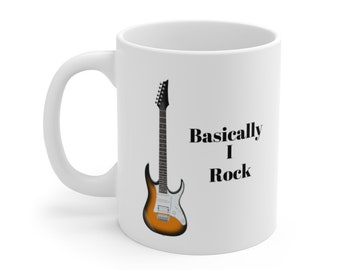 LET´S ROCK 11 OZ COFFEE MUG TEA CUP ROCK AND ROLL USA UK ELECTRIC GUITAR DRUMS!!