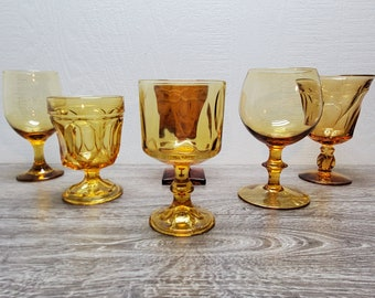Vintage/Set of 6/Mismatched Amber Wine Glasses/Goblets/Collection/Place Setting/Fostoria/Indiana/Wedding/Reception/Stemware/Yellow/Water
