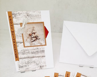 Christmas cards set of 6 wood, white & power series - see pictures (cards no. 27) - corresponds to a unit price of 3.00 Euro
